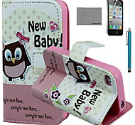 COCO FUN® Owl Baby Pattern PU Leather Case with Screen Protector and USB Cable and Stylus for iPhone 4/4S