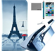COCO FUN® Red Umbrella Tower Pattern PU Leather Case with Screen Protector and USB Cable and Stylus for iPhone 6