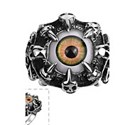 Classical Individual Men's Cat's Eye Resin Colours Stainless Steel  Ring(Black)(1Pc) Jewelry