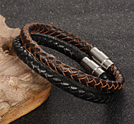 Leather Stainless Steel Magnetic Buckle Men's Bracelet