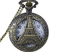Retro Skeleton Hollow Tower Shape Alloy Quartz Analog Pocket Watch With Chains  (1 x LR626)