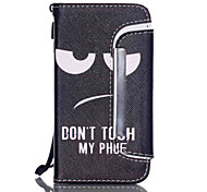 Don't touch my cell phone Pattern PU Leather Free movement Wallet with Card Slot and Screen Protector for iPhone 4/4S