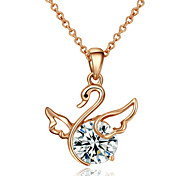 T&C Women's Rhinestone Jewelry 18k Rose Gold Plated Shining Crystal Fly Swan Pendant Necklace