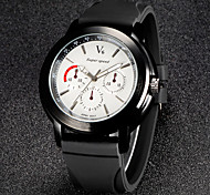 V6 Men's Fashion Black Sport Design Silicone Strap Quartz Casual Watch