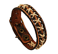 Classic Style Weave Genuine Leather Bracelet(Brown)(1Pc)
