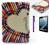 Color Pencil Smile Heart Pattern TPU Soft Back Cover Case for iPad Mini 3/iPad Mini 2/iPad Mini