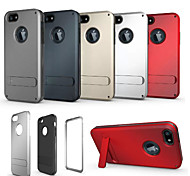 For iPhone 5 Case Shockproof / with Stand Case Back Cover Case Solid Color Hard PC iPhone SE/5s/5