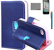 COCO FUN® Blue Butterfly Pattern PU Leather Case with Screen Protector and USB Cable and Stylus for iPhone 4/4S
