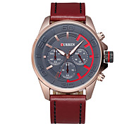 Men Leave Three Disc Leather Strap Quartz Watch