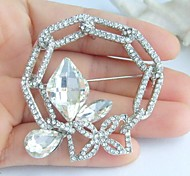 Wedding 2.17 Inch Silver-tone Clear Rhinestone Crystal Spiderweb Flower Brooch Pendant Art Decorations