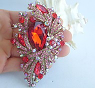 Gorgeous 3.74 Inch Gold-tone Pink Red Rhinestone Crystal Flower Brooch Pendant Art Deco