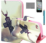 COCO FUN® Cross Necklace Pattern PU Leather Case with Screen Protector and USB Cable and Stylus for iPhone 4/4S
