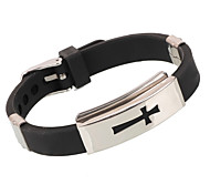 Fashion Cross Shape Stainless Steel Bracelet(Black)(1Pc)