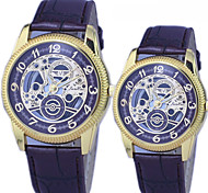 Couple's Fashion And Casual PU Leather Strap Gold Dial hollow quartz watch Cool Watches Unique Watches