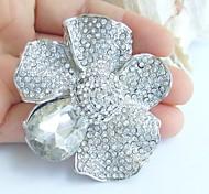 2.36 Inch Silver-tone Clear Rhinestone Crystal Bridal Brooch Pendant Wedding Decorations