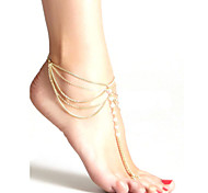 Fashion Women Crystal Beaded Chain Tassel Multilayer Anklets Beach Jewelry