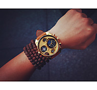 Men's Gold Multi-Functional Military Style Vintage Steel Round Dial Student  Watch