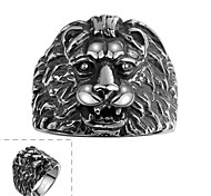 Maya Classical Individual Delicate Generous Head of Lion Stainless Steel Man Ring(Black)(1Pcs)
