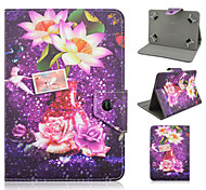 Water Lily Pattern High Quality PU Leather with Stand Case for 7 Inch Universal Tablet