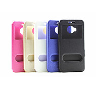 2015 Newest Flip Case Window Support Silk Grain Simple pu pc  Mobile Phone Shell for Htc M9 Plus Assorted Colors