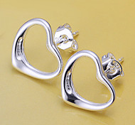 Stud Earrings Brass Silver Plated Heart Silver Jewelry 2pcs