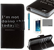 COCO FUN® Black Word Pattern PU Leather Case with Screen Protector and USB Cable and Stylus for iPhone 5/5S