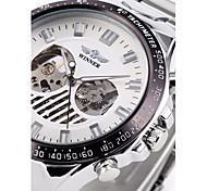 auto-mecânico esqueleto de moda de aço de prata relógio de pulso banda masculina
