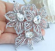 Wedding 2.76 Inch Silver-tone Clear Rhinestone Crystal Flower Bridal Brooch Pendant