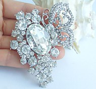 2.95 Inch Silver-tone Clear Rhinestone Crystal Butterfly Flower Bridal Brooch Pendant Wedding Decorations