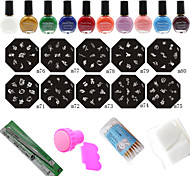 Fashion Nail Art Stamping Manicure Tools (10PCS Nail Plates + 10 Colors Printing Oil +Stamper + Scraper)