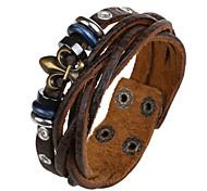 Punk Style Circle Genuine Leather Hot Sales Bracelet(Brown)(1Pc)