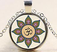 Fashion OM Yoga Namaste Pendant OM Yoga Namaste Necklace Glass Gem Necklace Gift for Friend