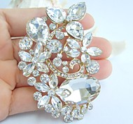 2.95 Inch Gold-tone Clear Rhinestone Crystal Flower Bridal Brooch Pendant Wedding Decorations