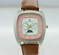 caja de la aleación analógica de los hombres del dial del cuadrado de la PU hombres reloj de cuarzo correa del reloj del regalo del reloj