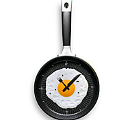 Wall Hanging Fry Pan Shaped Clock with Omelette  (Random Color)