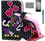 COCO FUN® Dots Owl Family Pattern PU Leather Case with Screen Protector and USB Cable and Stylus for iPhone 4/4S