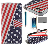 COCO FUN® USA Flag Pattern PU Leather Case with Screen Protector and USB Cable and Stylus for iPhone 5/5S
