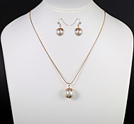European And American Fashion Pearl Earrings Necklace Set