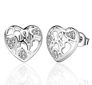 Concise Silver Plated Hollow Pattern Heart Shape Stud Earrings for Party Women Jewelry Accessiories