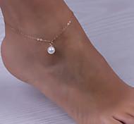 placa de oro sencilla playa de perlas cadena de yoga para el tobillo de las mujeres