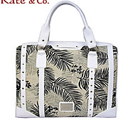 Kate & Co.® Women PVC / Canvas Tote Beige - TH-01840
