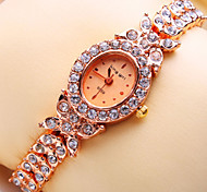 Women's New Luxury Trend Ellipse Diamond Dial Diamond Strap Fashion Quartz Bracelet Watch (Assorted Colors)