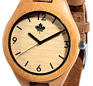 Unique Fashion Casual Men's Leather Bamboo Case Wood Dress Quartz Watches with leather strap Japan Movement