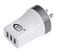 BTY M534 Universal 3-port USB Power Charger Adapter - White (100~240V / US Plug)
