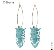 D Exceed  Lady Cute Animail Charm Earrings Silver Plated Round Hollow Out Owl Hoop Earings Jewelry