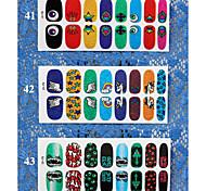 3 Sheet Mixed fashion  Halloween Series Full Wraps Nail Sticker Art Sticker For Nail Decals