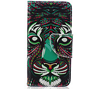 Tiger Pattern PU Leather Wallet Design Full Body Case with Stand for iPod Touch 5/6