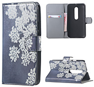 White Flowers Leather Wallet Flip Stand Cover Case For  Motorola MOTO G3 G 3nd Gen XT1552