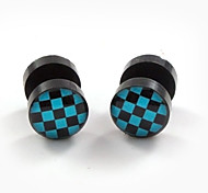 Fashion Acrylic Gridiron Pattern Stainless Steel Dumbbell Double Sides Stud Earrings 2pcs