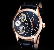 FORSINING Women's Gold Skeleton Auto Mechanical Leather Strap Watch